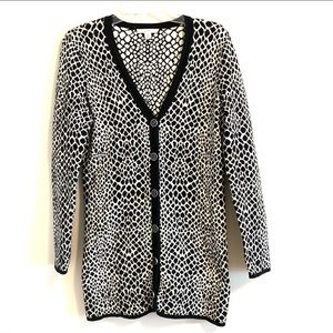 Sweaters - ISAAC MIZRAHI Live! Black and White Long Cardigan